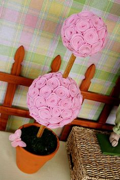 Felt Flower Topiary: I can adapt this for the baby's room