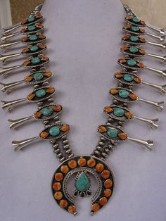 Vintage NAVAJO Sterling Silver TURQUOISE and Orange Spiny Oyster Shell SQUASH Blossom Necklace