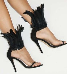 DIY Feather Ankle Straps, High Heel Sandals. via Trendhunter.