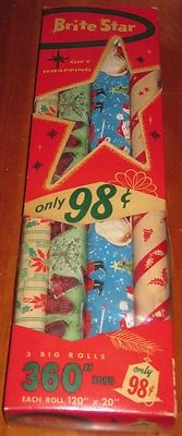 vintage Lot of 4 Rolls BRITE STAR Christmas wrapping Paper  in box | #402766882