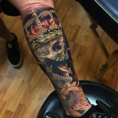 Brent Olson - Realistic skull with crown and sunflower tattoo, Brent Olson Art Junkies Tattoo