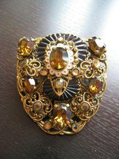 Vintage Czech Art Deco Neiger Enamel Filigree Brass black glass Dress clip