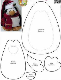 Pinguim de feltro com moldes