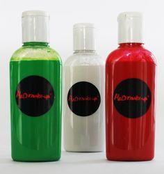 Pintura para Efectos Especiales marca H2O en colores verde, blanco y rojo en presentación de 120ml.