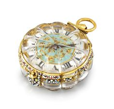 An extremely fine, rare and early 22K gold, enamel and rock crystal single hand Pendant Watch, signed Pierre Duhamel, ca. 1660, Christie's.
