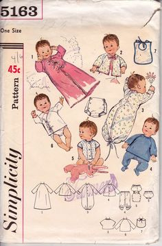1960s Newborn Baby Layette Clothing Pattern Simplicity 5163 Vintage Sewing Pattern