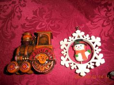 HALLMARK 1976 1977 ORNAMENTS WOOD LOOK TRAIN SNOWMAN SNOWFLAKE TWIRL ABOUT