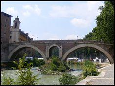 Fabricius Bridge is the oldest roman bridge on the Tiber (62 BC) still in good conditions - Rome