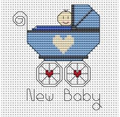 New Baby Boy Cross Stitch Card Kit £7.50 | Past Impressions | Fat Cat Cross Stitch Kit