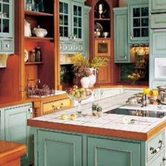 Love this color in the kitchen