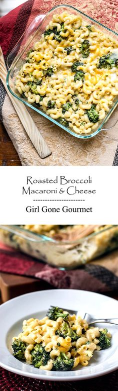 Rich and creamy mac & cheese with tender roasted broccoli