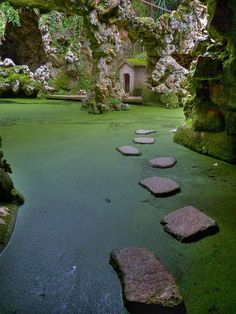 I can't wait to try my luck on these stepping stones at Lago da Cascata in Sintra, Portugal. #AdventureAwaits @RothCheese