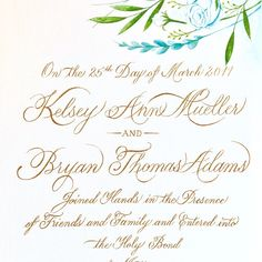 Say 'Hi' to our new, handmade marriage certificate 💝 Aztec Gold Pearl Ex ink was used for the handmade calligraphy, and the flowers were painted to mirror those from Kelsey's mother's handmade floral arrangements and bouquets at the ceremony.