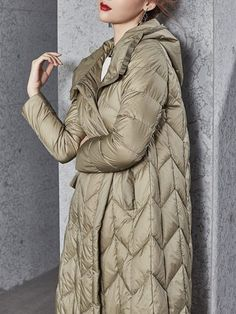 Pockets Long Sleeve Hoodie Casual A-line Down Coat