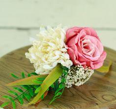 Silk Mini Rustic Pink Fall Wedding Bouquet Rose and Mum - Silk Bouquet