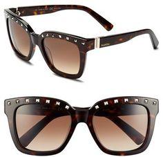 Valentino 'Rockstud' 52mm SunglassesSo true.    |  ≼❃≽ @kimludcom