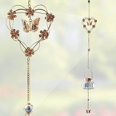 Hanging Butterfly and Heart Chimes - Hanging Glass Tea Light Candle Holder - Hanging Garden Chimes - 40 Inch High