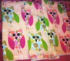 Set of 3 Pink/Green owl print washcloths.  $10  https://m.facebook.com/kadenceuniquebowtique