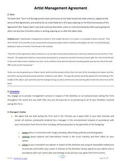 An Artist Management Contract | Our Contracts | Pinterest | Artist ...