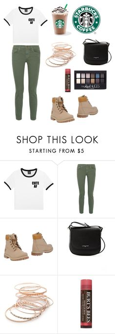 """""""Starbucks Morning"""" by alexishannah15 ❤ liked on Polyvore featuring The Great, Timberland, Lancaster, Red Camel, Maybelline and Burt's Bees"""