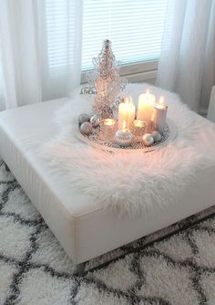 LUXE FAUX FUR - Sheepskin rug - Candles - Relaxing home decor.