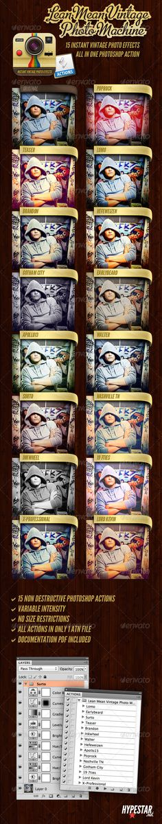Lean Mean Vintage Photo Machine by hypestar 15 Instant Vintage Photo Effects All In One Photoshop Action 15 non Destructive Photoshop Actions Adjustible intensity No s Cool Photoshop, Effects Photoshop, Photoshop Photos, Photoshop Tutorial, Action Photography, Free Photography, Photoshop Photography, Photography Tutorials, Photoshop Actions For Photographers