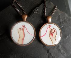 best friend necklace set, friendship necklaces, red string of fate. $31.00, via Etsy.