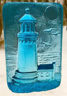 Sun catcher, Lighthouse, Faux Stained Glass, Ocean, resin, Gallery Glass Paint, Repurposed Sea Glass by BeadedImpressionsNH on Etsy