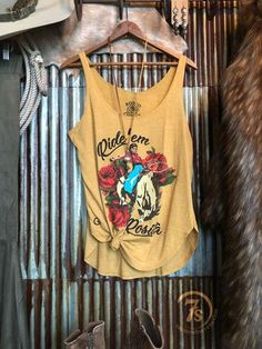 2ed2ad7d8 The Rosita - Retro Bucking Horse cowgirl graphic tank. Colorful vintage  feel