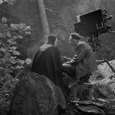 Ingmar Bergman on the set with one of his most iconic cinematic creations, the chess-playing Death in The Seventh Seal. So iconic in fact that it has been spoofed, ripped off and referenced for generations.