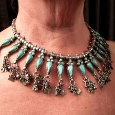 Silver, turquoises, Iran  Description    The 17 turquoises set up on this old necklace are beautifull as always when they come from Iran .This necklace is very confortable for every day wearing and by all types of women ...  Weight:143,9gr