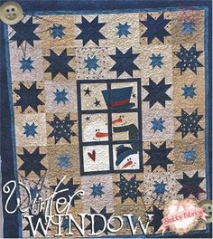"""Winter Window: A trio of snowmen are looking through a winter window in this darling quilt! Piecing and applique are used. Pattern includes all instructions for the 56"""" x 66"""" quilt."""