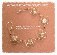 Wirework Daisy Bracelet made at Verchiel Jewellery workshop, run by Bev.