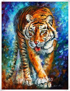 Aliexpress.com : Buy Tiger Art  Palette Knife Painting Home Decoration Oil painting Wall Pictures for living room Home Decor paints Wall art paint from Reliable picture to oil painting suppliers on Eazilife Oil Painting  | Alibaba Group