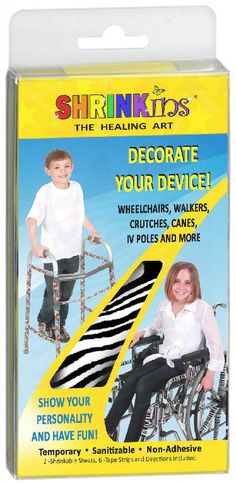 Add some fashion and fun to crutches, knee scooter, walker or wheelchair with Shrinkins.  Fun easy project for kids.