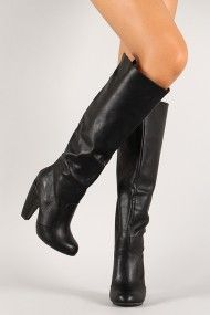 dfd66762b15 Bamboo Mozza-04 Round Toe Knee High Boot Knee High Boots