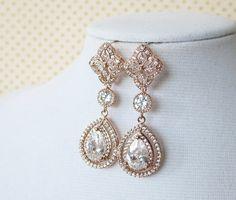 Rose Gold Teardrop Deluxe Cubic Zirconia Teardrop Earring - vintage halo style earrings, bridal gifts, drop, dangle, pink rose gold weddings...