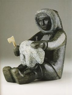 My Father Carving a Bear (2004) by Oviloo Tunnillie, Inuit artist (L40606)