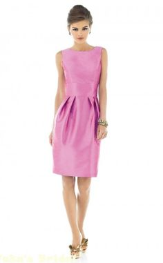 Fuchsia Taffeta Sleeveless short length Dresses With large Flat Bow Detail At Low Back Bridesmaid Dresses(BD592)
