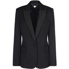 Stella Mccartney Black Tuxedo Ingrid Jacket ($1,440) ❤ liked on Polyvore featuring outerwear, jackets, blazers, coats, stella mccartney, black, tuxedo dinner jacket, tux jacket, tuxedo jacket and one button tuxedo
