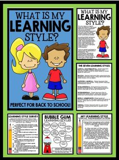What is my Learning Style? - Learning Style Survey, Information, Foldable, Worksheets, Learner Profile Activities, and Project! Perfect for back to school! Learning Styles Survey, Learning Styles Activities, Learning Style Quiz, Learning Style Inventory, Beginning Of The School Year, Back To School, Girls School, Multiple Intelligences Activities, Learner Profile