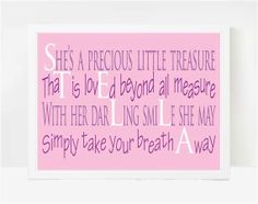 Personalized Baby Girl Gifts Personalized Poetry by LarkRoadRhymes. Cute idea.....