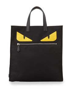 "Monster-Creature Tote Bag by Fendi at Neiman Marcus. Tech-fabric tote bag with zip-pocket ""mouth"". 14""H x 13""W x 5""D. Made in Italy."