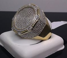 CT Men's Yellow Gold Finish Pave Diamond Engagement Wedding Pinky Ring Mens Diamond Jewelry, Mens Diamond Wedding Bands, Wedding Ring Bands, Wedding Jewelry, Mens Band Rings, Rings For Men, Men's Jewelry Rings, Jewellery, Jewelry Watches