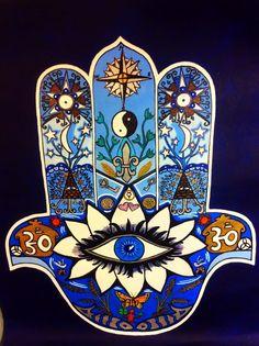 "Hamsa,khamsa,hand of fatima 18"" x 24"" on Canvas  . Housewarming gift for Virgo #Surrealism"