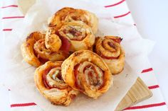 Delicious Ham & Cheese Roll Ups made with puff pastry. They make a lovely treat tea for the family or can even be eaten cold for lunch!