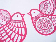Scandinavian style deep pink Dove Games screen print - Jane Foster
