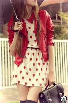 Valentines Day heart sprinkle dress with thigh high socks and a red leather jacket to match.