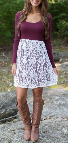 Do u love the Chic Lace-Paneled Combo Dress?Shop it with three simple steps. Dresses Short, Casual Dresses, Summer Dresses, Fall Dresses, Sexy Dresses, Country Outfits, Fall Outfits, Cute Outfits, Fashion Mode