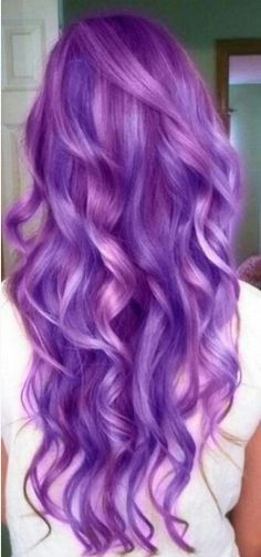 The Very Long Wavy Bright Purple Colored Ombre Hairstyle